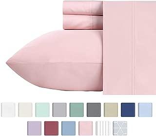 California Design Den Extra Deep Pocket Sheet Set - 600 Thread Count Long Staple Cotton Queen Size Blush Pink Sheets, Soft & Sateen Weave 4 Piece Bedding Set