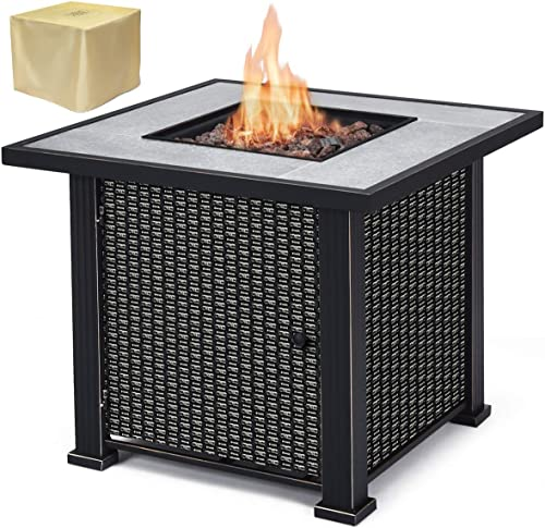 lowest Giantex Propane Fire Pit Table, sale 30 inch 50,000 new arrival BTU Square Gas Firepits w/ Ceramic Tabletop, Emboss Gas Heater w/ Lava Rock, Waterproof Cover, ETL and CSA Certification (Black) online