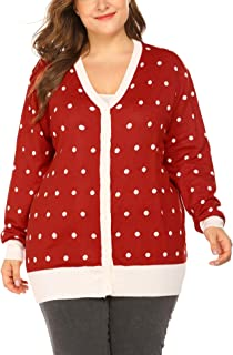 IN'VOLAND Women's Plus Size Long Sleeve Button Down Dots Print Soft Knit Cardigan Winter Sweater