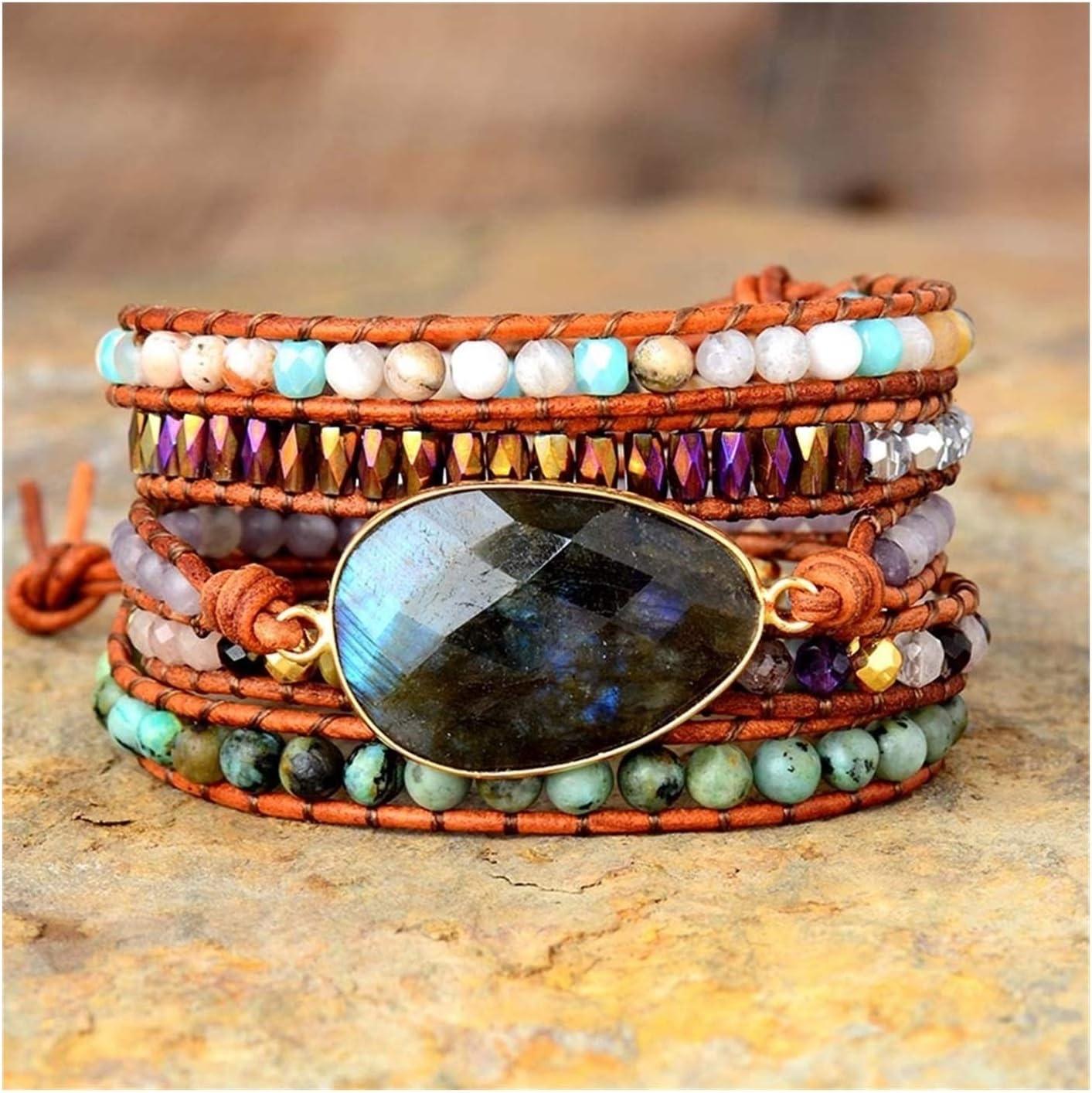 High material All stores are sold AOSUAI Women Boho Bracelets Labradorite Leather 5 Strands Strap