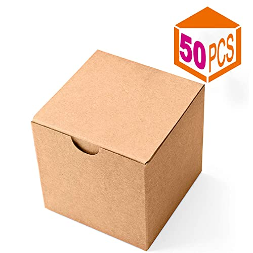 4f7929e02 MESHA Kraft Gift Brown Boxes 50 Pack 3 x 3 x 3 inches, Paper Gift