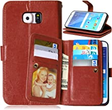 Galaxy S7 Edge Case, Asstar [Card/Cash Slots]Built-in 9 Slots Heavy Duty Protective Shock Resistant Luxury PU Leather Case Flip Cover case for Samsung Galaxy S7 Edge (brown)