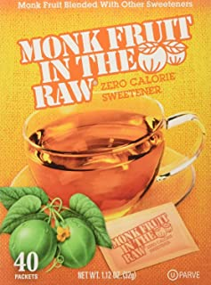 Monk Fruit in the Raw Sweeteners, Sugar Substitute, 4 Pack – 40 Count Each, 160 Total Packets