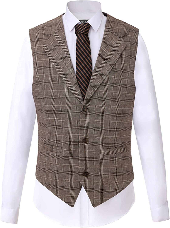 Men's Formal 3 Buttons Single-Breasted Waistcoat Plaid Jacket Suit Vest Slim Fit