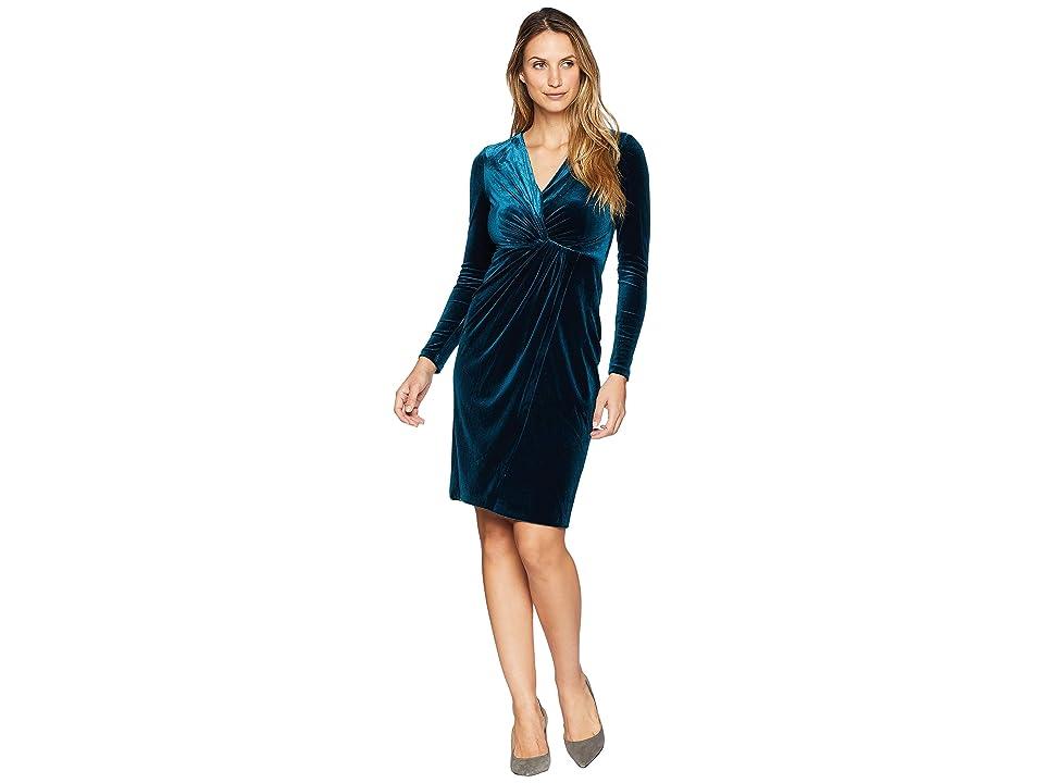 Maggy London Stretch Velvet Wrap Dress (Deep Teal) Women