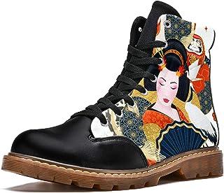 LORVIES Geisha Japonaise Chat Chanceux coloré carpes Bottes d'hiver Chaussures Montantes en Toile à Lacets pour Hommes