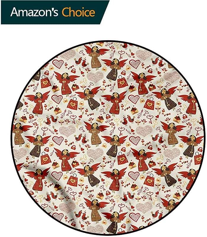 RUGSMAT Angel Super Soft Circle Rugs For Girls Medieval Valentine Themed Floor Mat Home Decor Diameter 24