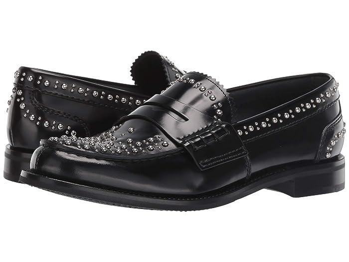 1940s Mens Shoes | Gangster, Spectator, Black and White Shoes Churchs Pembrey 2 Loafer w Studs Black Womens Slip on  Shoes $240.00 AT vintagedancer.com