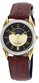 Peugeot Men & Women Sun Moon Phase Wrist Watch with Date Window and Tan Brown Strap
