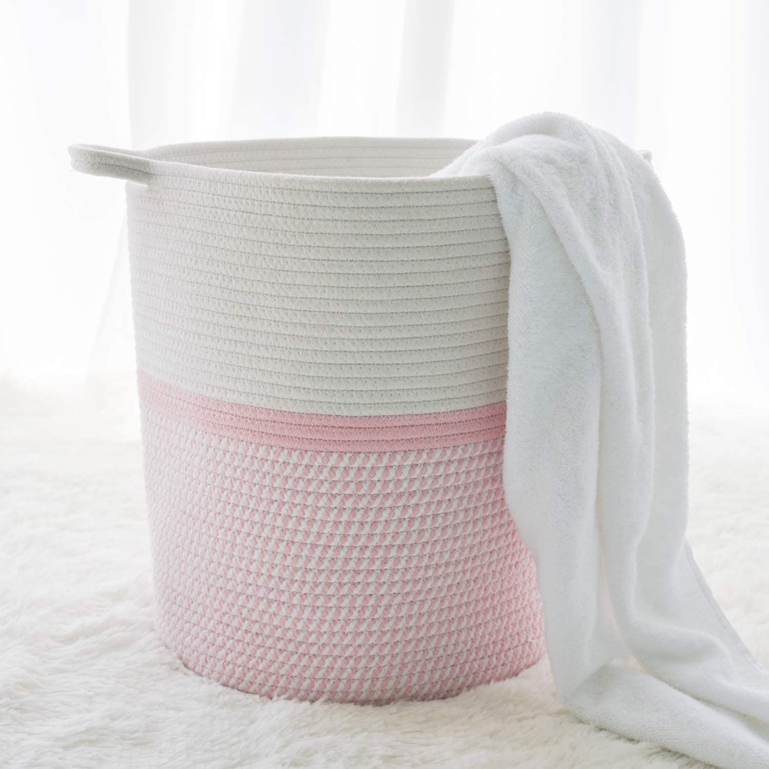 INDRESSME Cotton Large-scale sale Basket 16.2 x 14.2 Woven 13.4 inches Large special price Hamper P