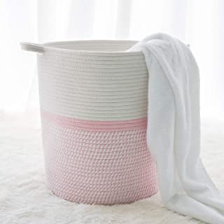 "INDRESSME Cotton Basket 16.2""14.2""13.4"" Woven Hamper Pink Girl Basket for Gift Toy Blanket Corner Basket in living Room"