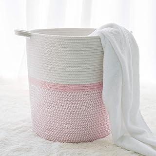 """INDRESSME Cotton Basket 16.2""""14.2""""13.4"""" Woven Hamper Pink Girl Basket for Gift Toy Blanket Corner Basket in Living Room"""
