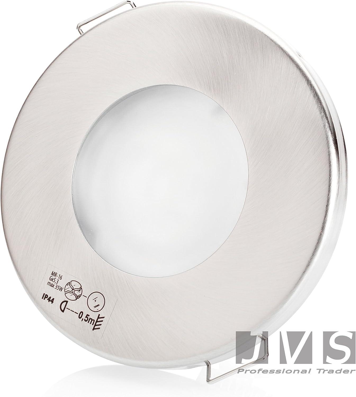 7er Set AQUA SLIM 230V Matt-Chrom mit LED 7W Kaltweiss mit GU10 Fassung Einbaustrahler Einbauspots Deckenspots Feuchtraum Badezimmer IP44 6