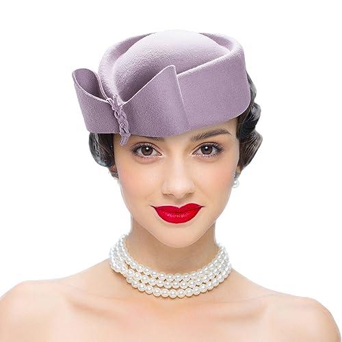bcabdf280dbe1 Lawliet Ladies Teardrop Fascinator Wool Pillbox Hat Formal Racing Bowknot Dress  Hat for Women
