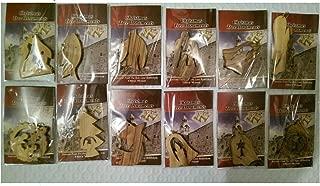 Bethlehem Olive Wood Complete Christmas Ornament Set. Nativity Story by Bethlehem Gifts TM (Set of 12)