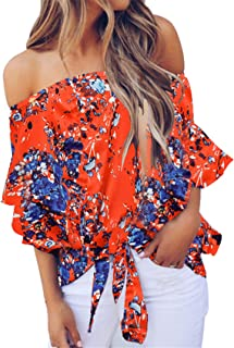 SZIVYSHI Half Sleeve Bell Trumpet Flared Flare Sleeve Ruffled Ruffle Hem Off The Shoulder Floral Blouse Shirt Top Orange 2XL