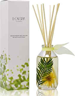 LOVSPA Pineapple Palm Reed Diffuser & Scent Sticks Gift Set - Green Palm Leaves & Tropical Pineapple - Natural Essential Oils - Made in The USA