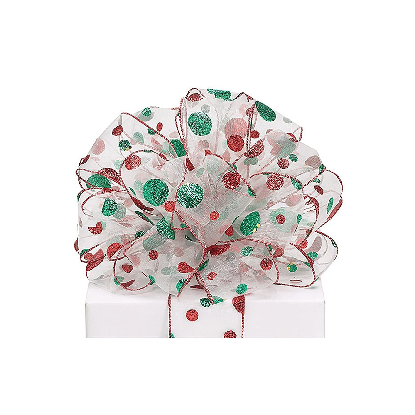 #40 Sheer Wired Ribbon with red and Green Glitter dots. 2 1/2