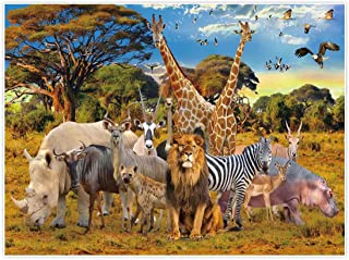 Allenjoy 8x6ft Jungle Animal Backdrop for Summer Tropical Desert African Forest Safari Scenic Party Photography Pictures Decoration Event Table Decor Banner Background Children Photo Booth Shoot