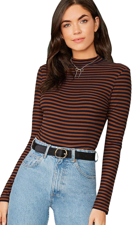 Floerns Women's High Neck Long Sleeve Slim Fit Stretch Striped T-Shirts Burnt Orange