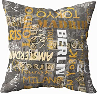 Shorping Decorative Pillow Covers, Zippered Covers Pillowcases 16X16Inch Throw Pillow Covers Art Vintage Word Pattern Background with Names of Cities for Home Sofa Bedding