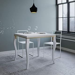 Itamoby, Table extensible Hollande Libre 120, panneaux de mélaminé, blanc frêne & doré, L.120 H.80 P.90 (ouvert L.240 H.78...