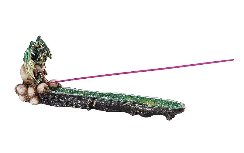 ジェーンオースティンソーセージいとこグリーンドラゴンon Skull GemstoneクォーツStick Incense Burner中世ファンタジー10.75インチL