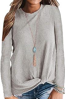 SAMPEEL Womens Waffle Knit Twist Knot Tops Fall Winter...