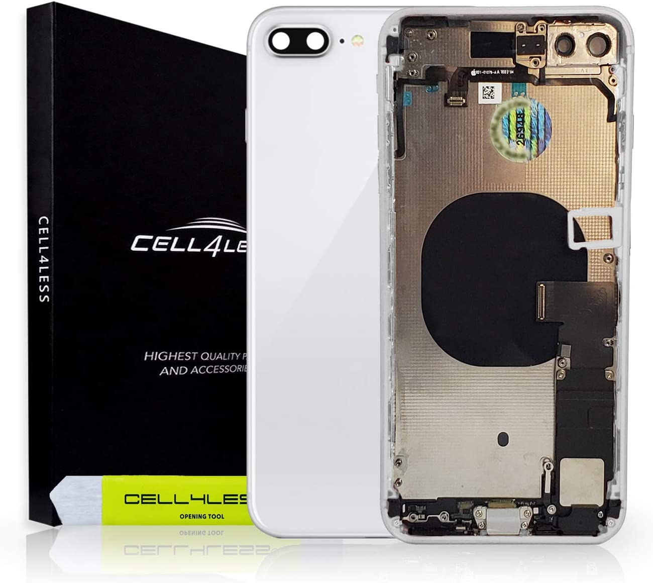 CELL4LESS Back Housing Assembly Metal MidFrame w/Major Components Pre-Installed Including Buttons for iPhone 8 Plus (White)