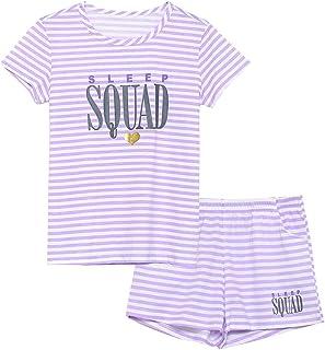 Girls Summer Pajamas – Stripe & Glittering Heart Jammies...