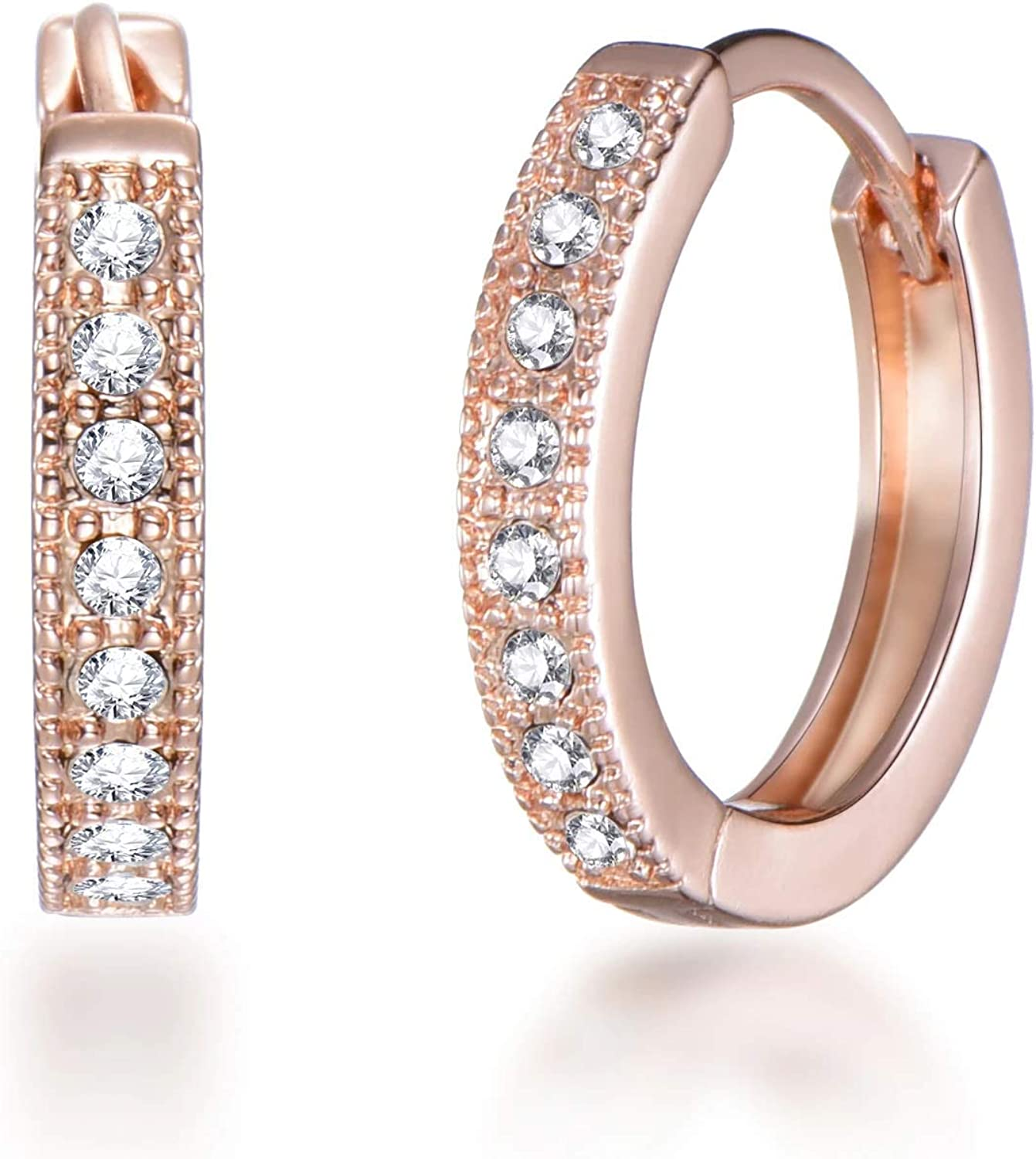 Rose Gold Hoop Earrings Created with Austrian Crystals