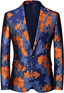 YOUTHUP Mens Slim Fit Blazer Single Breasted 1 Button Embroidery Suit Jacket Floral Tuxedo Jackets
