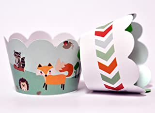 Woodland Animals Cupcake Wrappers for Kids Birthday Parties, Baby Showers, Fox, Bear, Deer Themed Parties/School Events. Set of 24 Reversible Cute Woodsy Scene to an Arrow Print Cup Cake Holder Wrap