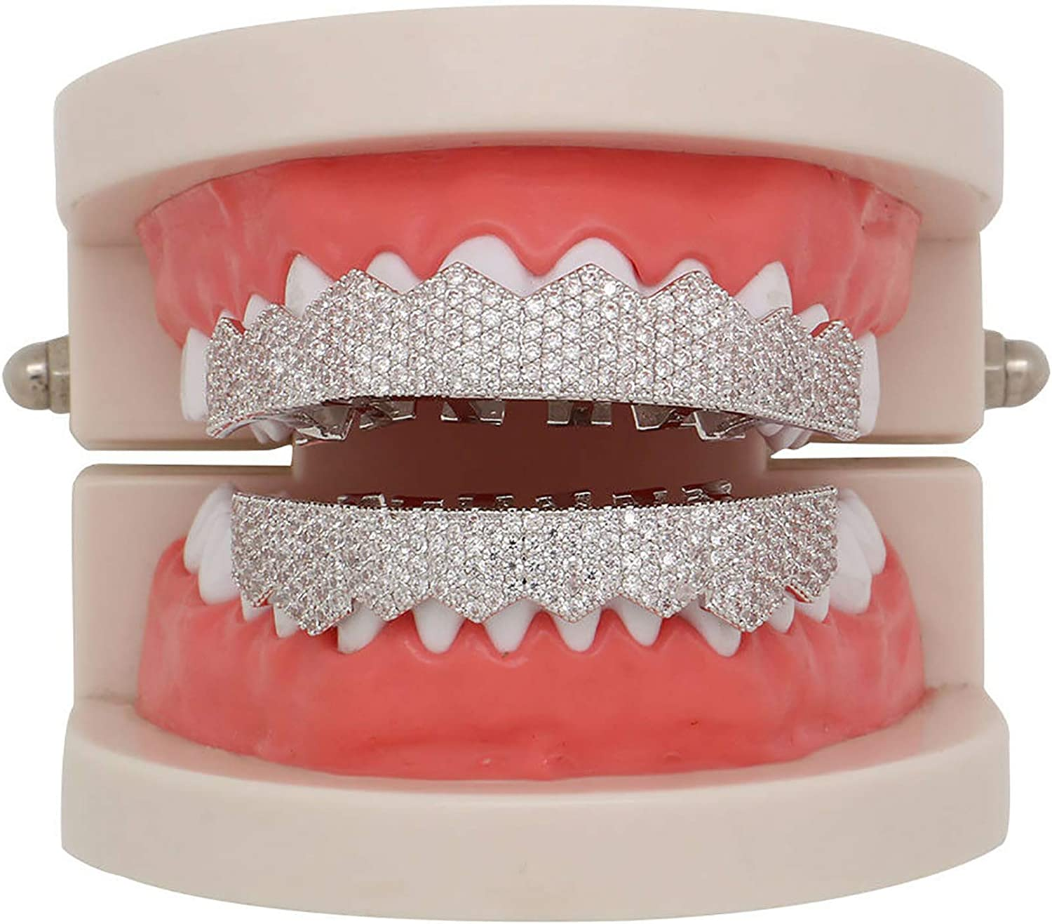 14K White Gold Plated Grillz for Mouth Top Bottom Hip Hop 8 Teeth Grills for Teeth Mouth Set - Grillz, Teeth Cap, Iced Out Grillz