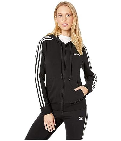 adidas Essential 3-Stripes Full Zip Hoodie (Black/White) Women