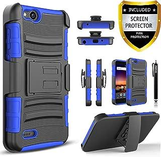 Circlemalls [Combo Holster] Phone Case Cover Compatible For ZTE Avid 4 /ZTE Fanfare 3 /ZTE Blade Vantage /ZTE Tempo X /ZTE Tempo Go /ZTE ZFive G LTE / ZTE ZFive C Z558VL, With [Screen Protector]-Blue