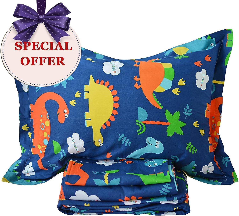 Brandream Kids Bedding Sets bluee Dinosaur Sheets Set 100% Cotton Bed Sheet Set-Fitted Sheet Flat Sheet Shams Set-Twin Size