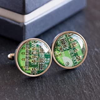 Green Circuit Board Cufflinks, unique gift for him