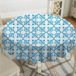 ScottDecor Decorative Round Tablecloth Irish Antique Tile with Delicate Royal Floral Details and Squares Baroque Flourish Pale Blue White Fabric Tablecloth Diameter 36
