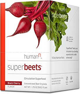 HumanN SuperBeets Circulation Superfood Concentrated Beet Powder Nitric Oxide Boosting Supplement (10 Packets, Black Cherry Flavor)