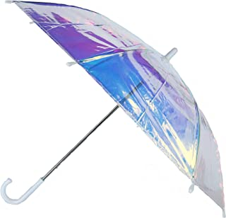 CTM Kid's Iridescent Stick Umbrella with Hook Handle