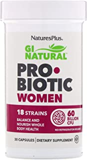 NaturesPlus GI Natural Probiotic Capsules, Women - 30 Capsules - 18 Live Probiotic Strains & Prebiotics - Digestive & Immu...