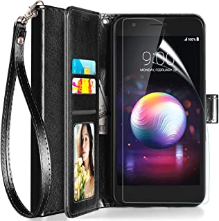 Axiay LG Aristo 2/Aristo 2 Plus Case,LG Tribute Empire/Aristo 3 Plus/K8+/Fortune 2 Phone Wallet Case with Screen Protector,Kickstand Magnetic Card Slots Wrist Strap Shockproof Leather Cover,Black