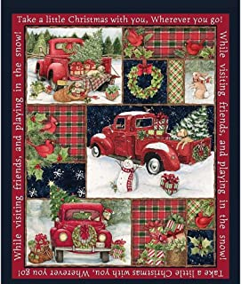 Springs Creative Cotton Quilt Fabric Red Truck Panel Style 66689