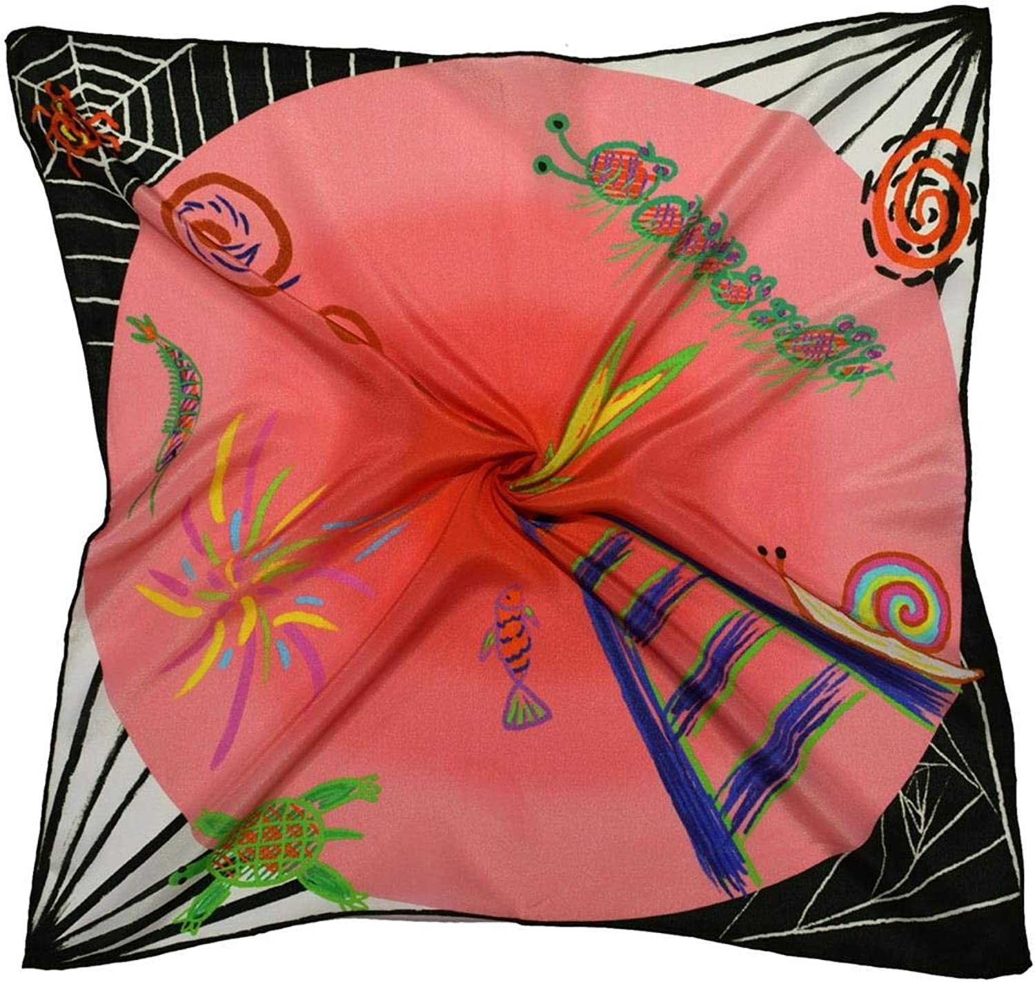 Pink Abstract Thick Small Silk Square Scarf