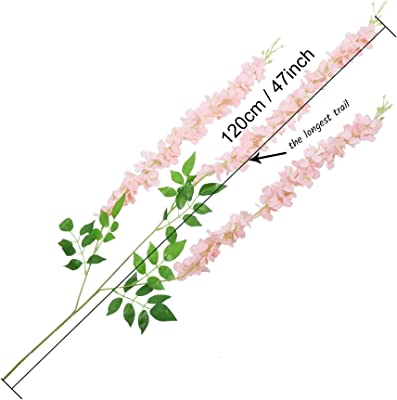 TIED RIBBONS Set of 6 Artificial Silk Wisteria Hanging Flowers Strings Garlands for Home Decoration Wedding Party Garden Outdoor Ceremony Events Backdrop Floral Décor (Lavender, Each String 120 cm)