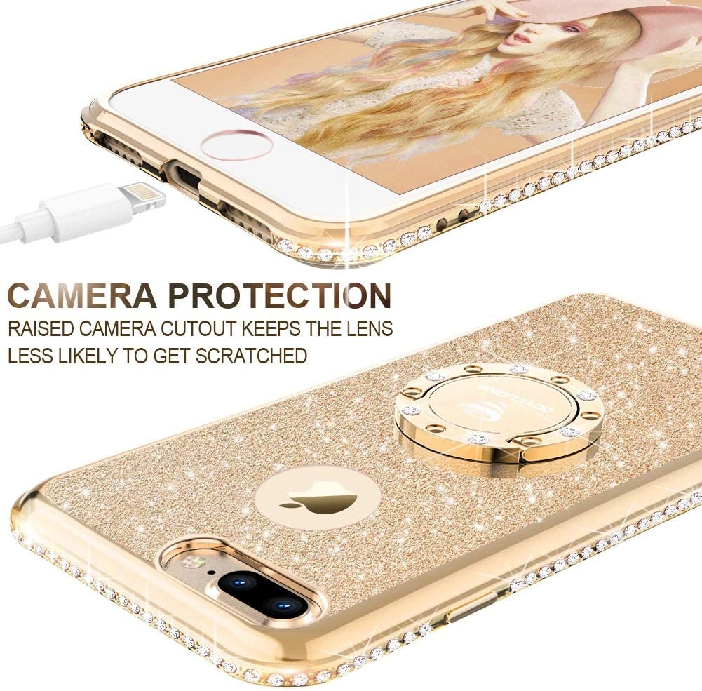 Cute iPhone 8 Plus Case, Cute iPhone 7 Plus Case, Glitter Luxury Bling Diamond Rhinestone Bumper with Ring Grip Kickstand Protective Thin Girly Gold iPhone 8 Plus/ 7 Plus Case for Women Girl - Gold