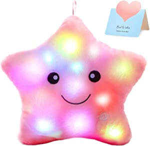 WEWILL Creative Twinkle Star Glowing LED Night Light Plush Pillows Stuffed Toys Birthday Valentines Gifts for Toddlers Girls (Pink)