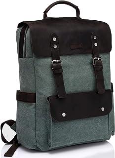 Vintage Backpack,Vaschy Leather Backpack for Women and Men Canvas Ergonomic Rucksack Bookbag Daypack fits 15.6 inch Laptop
