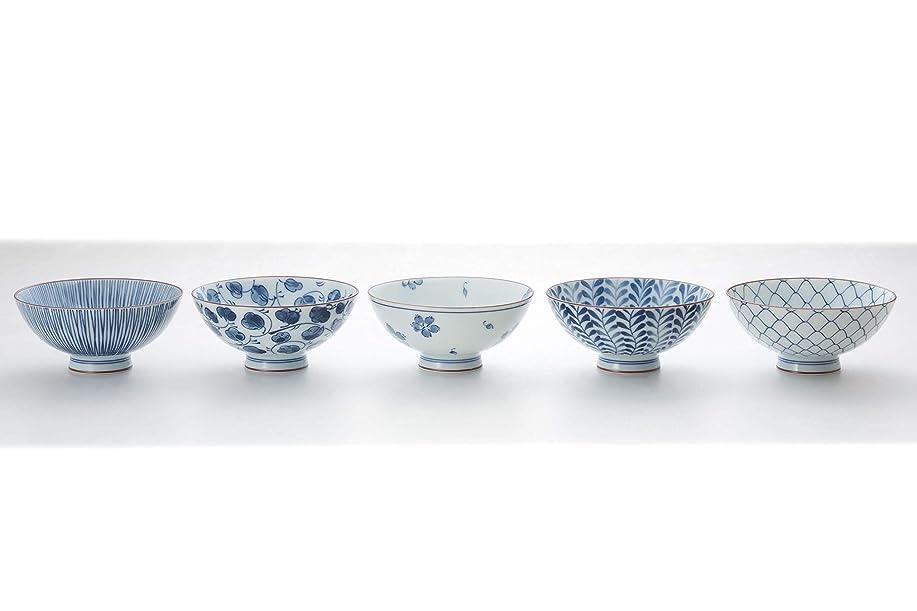 許さないたるみロッジ西海陶器(Saikaitoki) 飯碗 白/藍色 250ml 藍絵変り 飯碗(5柄組)